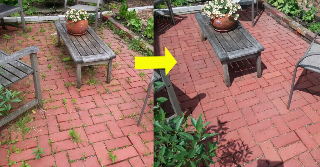 Patio before and after using natural weed killer.