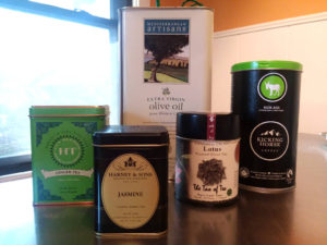 recycling tea tins, coffee cans, olive oil cans, cookie tins