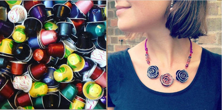 Recycled coffee pod necklace