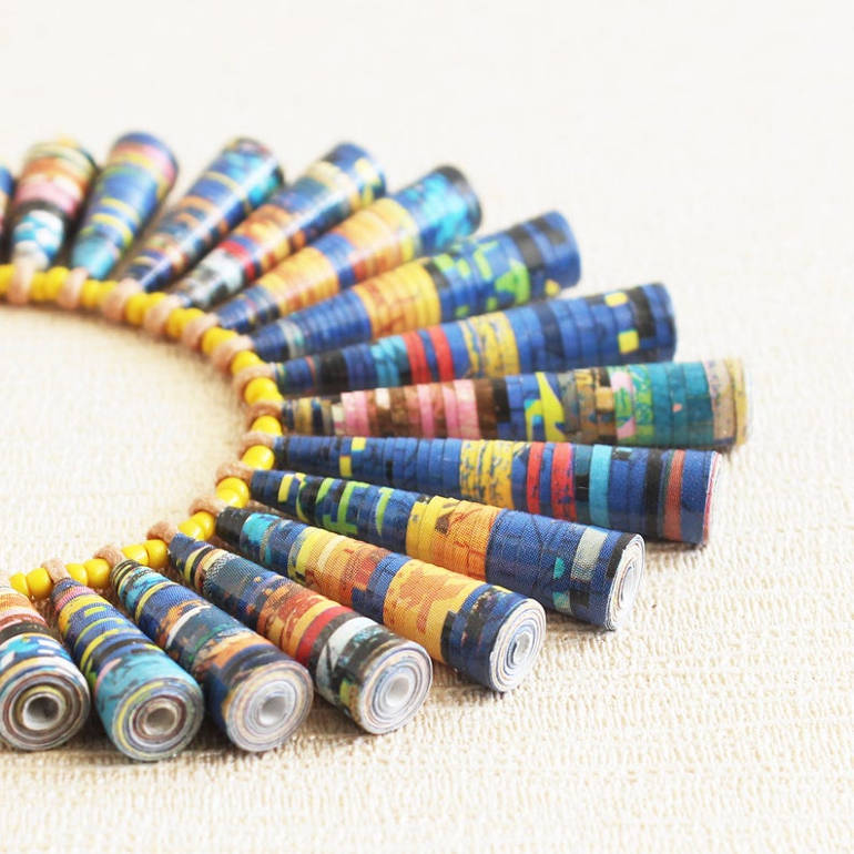 Recycled comic paper necklace