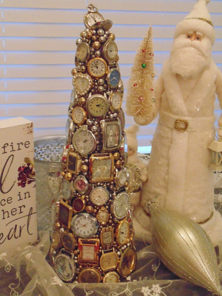 Christmas tree made from vintage watches