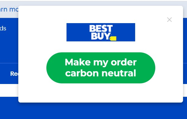 Make my order carbon neutral button.
