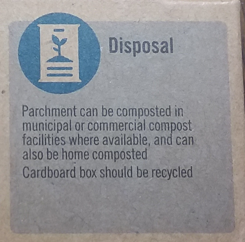Instructions on disposing of compostable parchment paper.